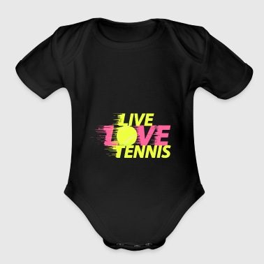 Tennis live love balls swing gift - Short Sleeve Baby Bodysuit
