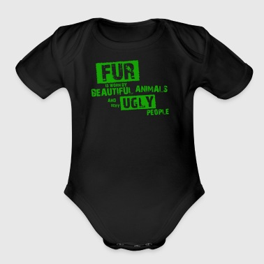 Fur is worn by - Short Sleeve Baby Bodysuit