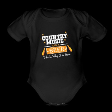 Funny Beer saying Love Country Music and Beer Gift - Organic Short Sleeve Baby Bodysuit