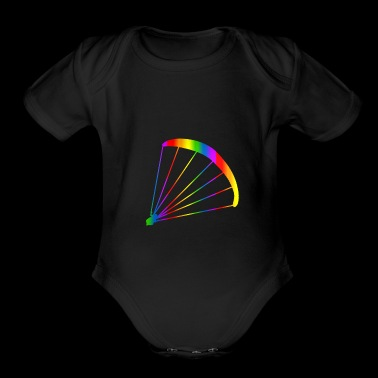 Colorful Paraglider Rainbow - Organic Short Sleeve Baby Bodysuit