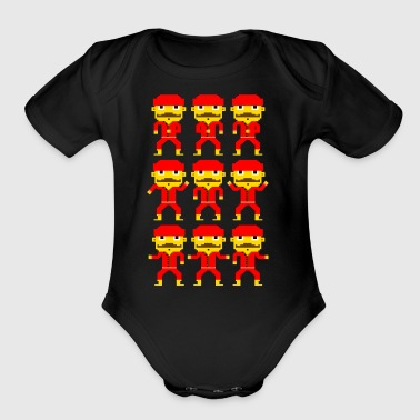 Dance of the pixel men - Short Sleeve Baby Bodysuit