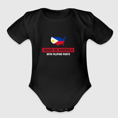 Made In America With Filipino Parts Philippines - Short Sleeve Baby Bodysuit