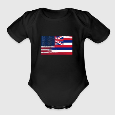 Hawaii American Flag Fusion - Short Sleeve Baby Bodysuit