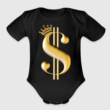 Dollar sign as a king - Organic Short Sleeve Baby Bodysuit