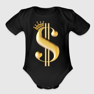 Dollar sign as a king - Short Sleeve Baby Bodysuit