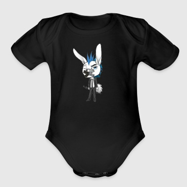 HARE' THE IRRITATED HARE - Short Sleeve Baby Bodysuit