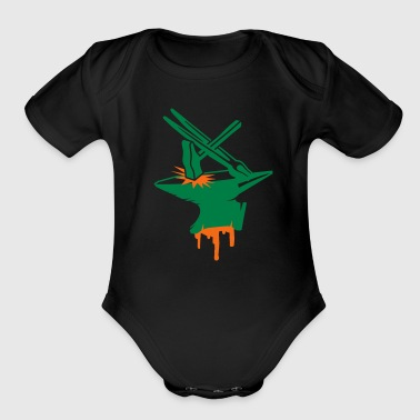 Anvil with hammer and tongs - Organic Short Sleeve Baby Bodysuit