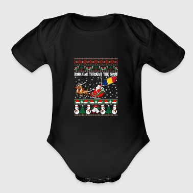 Romanian Through The Snow Ugly Christmas Sweater - Short Sleeve Baby Bodysuit