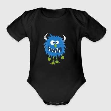 Blue Happy Monster - Short Sleeve Baby Bodysuit