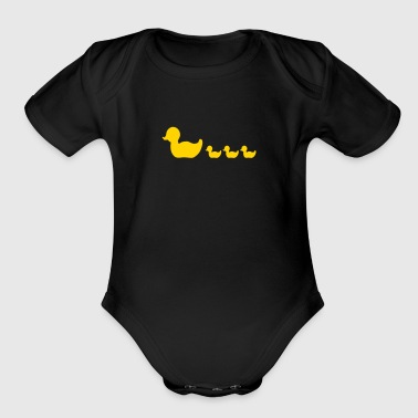 rubber duck family (1c) - Organic Short Sleeve Baby Bodysuit
