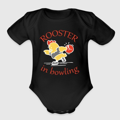 Rooster in Bowling - Short Sleeve Baby Bodysuit
