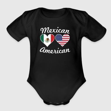 Mexican American Flag Hearts - Short Sleeve Baby Bodysuit
