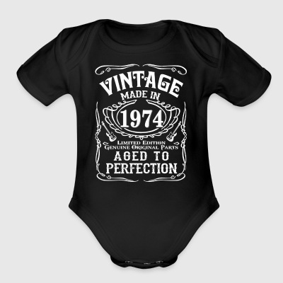 Vintage Made in 1974 Genuine Original Parts - Short Sleeve Baby Bodysuit