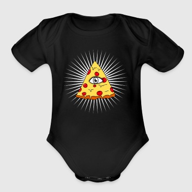 illuminati pizza All Seeing eye food Pyramide illu - Short Sleeve Baby Bodysuit