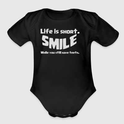 Life Short Smile Advice Wisdom - Short Sleeve Baby Bodysuit