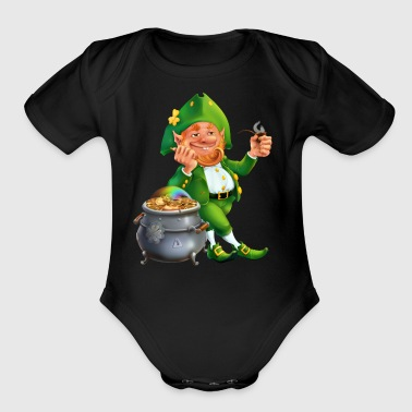 Feast of Saint Patrick Leprechaun pot gold coins - Short Sleeve Baby Bodysuit