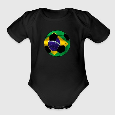 Cool Brazil Soccer Shirt Soccer Ball - Short Sleeve Baby Bodysuit