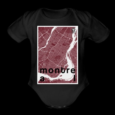 Montreal hipster city map red - Organic Short Sleeve Baby Bodysuit