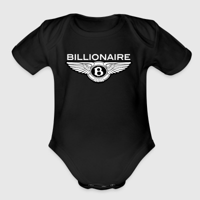 Billionaire - Wings Design (White Letters/Black) - Short Sleeve Baby Bodysuit