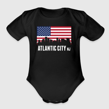 American Flag Atlantic City Skyline - Short Sleeve Baby Bodysuit