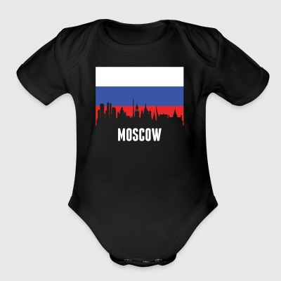 Russian Flag Moscow Skyline - Short Sleeve Baby Bodysuit