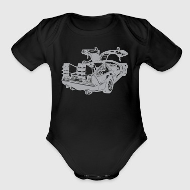 illustration-back-to-the-future-delorean - Short Sleeve Baby Bodysuit