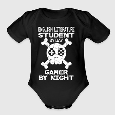 English Literature Student By Day Gamer By Night G - Short Sleeve Baby Bodysuit