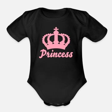 Name Keep Calm with this Custom Crown and Custom Text - Organic Short Sleeve Baby Bodysuit