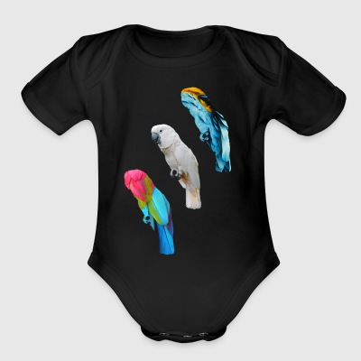 cockatoo, blue, red - Short Sleeve Baby Bodysuit