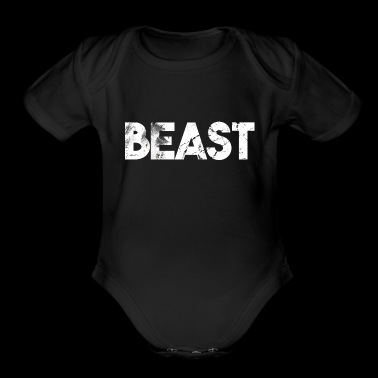 Beast lettering grizzly bear gift idea - Organic Short Sleeve Baby Bodysuit