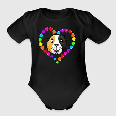 Rainbow Heart Guinea Pig Face - Short Sleeve Baby Bodysuit