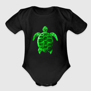 Green Honu Turtle - Organic Short Sleeve Baby Bodysuit