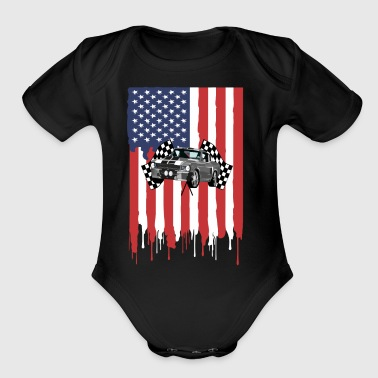 Muscle Car Fan Shelby American Flag Gift Shirt - Short Sleeve Baby Bodysuit