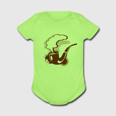 A smoking tobacco pipe - Short Sleeve Baby Bodysuit