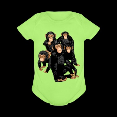 Five Cute Monkey's T-Shirt - Funny Little Ape - Short Sleeve Baby Bodysuit