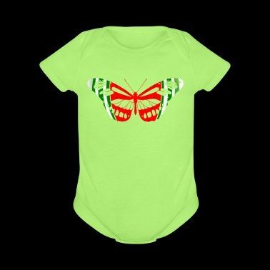 Butterfly Watermelon Summer Fruit Glow Party Funny - Short Sleeve Baby Bodysuit