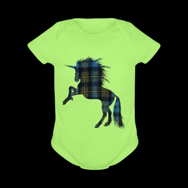 Tartan T-shirt for the Proud Scot Unicorn Plaid Sh - Organic Short Sleeve Baby Bodysuit