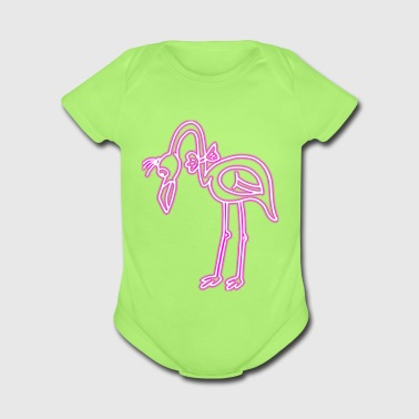 80s Retro Neon Flamingo Pink Bird Ribbon Funny - Short Sleeve Baby Bodysuit