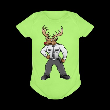 Security deer with red nose - Organic Short Sleeve Baby Bodysuit