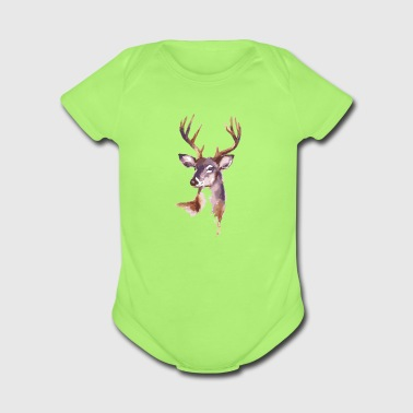 Christian,Deer - Short Sleeve Baby Bodysuit
