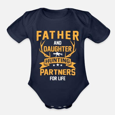 Hunting Hunting dad - Father and daughter Hunting Partners - Organic Short-Sleeved Baby Bodysuit