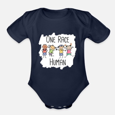 Anti Racism One Race Human - Anti Racism - Diversity Day - Organic Short-Sleeved Baby Bodysuit