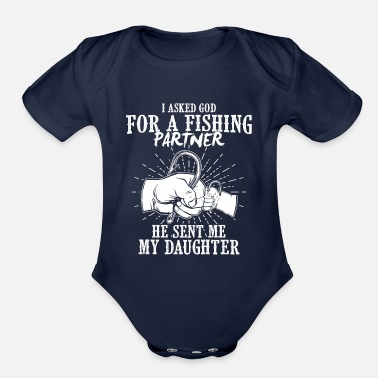 Daughter Fishing partner father daughter - Organic Short-Sleeved Baby Bodysuit