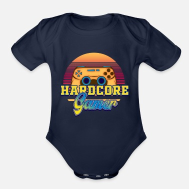 Happy Hardcore Hardcore GAMER - Organic Short-Sleeved Baby Bodysuit