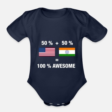 India Half Indian Half American 100% India - Organic Short-Sleeved Baby Bodysuit