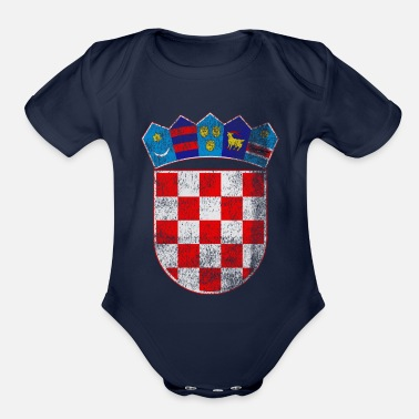 Croatia Croatian Coat of Arms Croatia Symbol - Organic Short-Sleeved Baby Bodysuit