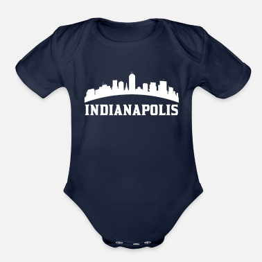 Indianapolis Vintage Style Skyline Of Indianapolis IN - Organic Short-Sleeved Baby Bodysuit