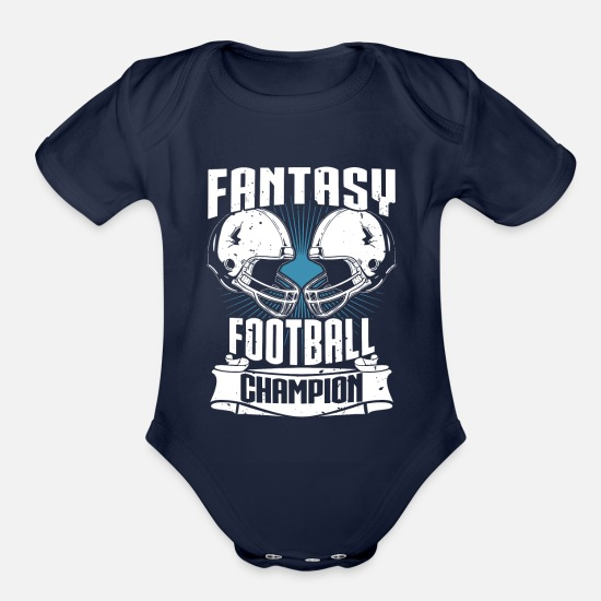 Fantasy Baby Clothing - Fantasy Football Champion Fantasy Sports - Organic Short-Sleeved Baby Bodysuit dark navy