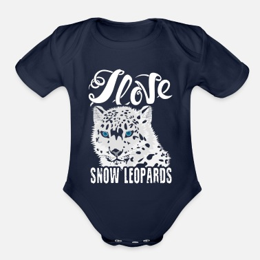 Snow I Love Snow Leopards Shirt - Organic Short-Sleeved Baby Bodysuit
