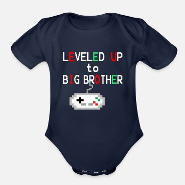 Big Gamer Big Brother Announcement Level Up - Organic Short Sleeve Baby Bodysuit